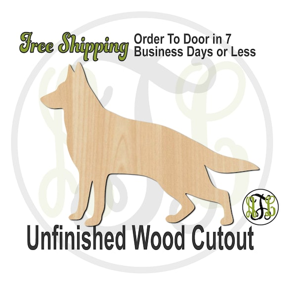 German Shepherd - 230099- Animal Cutout, unfinished, wood cutout, wood craft, laser cut shape, wood cut out, Door Hanger, Dog, wooden, blank