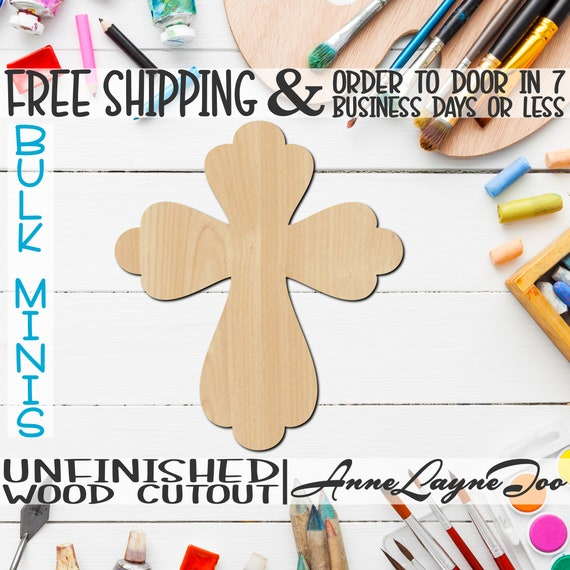 "Cross 6, 2"" to 6"" Minis, Small Wood Cutout, unfinished, wood cutout, wood craft, laser cut, wood cut out, ornament -290037"