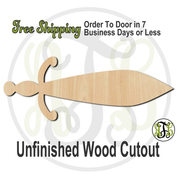 Sword 3 - 300016- Cutout, unfinished, wood cutout, wood craft, laser cut shape, wood cut out, Door Hanger, wooden, ready to paint