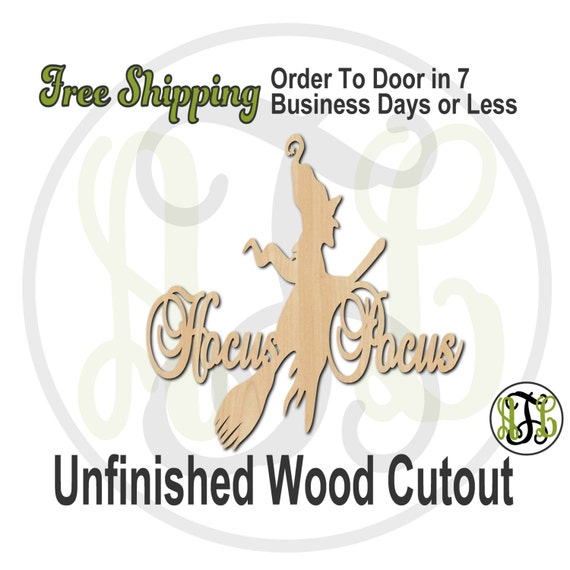 Hocus Pocus - 160205- Halloween Cutout, unfinished, wood cutout, wood craft, laser cut wood, wood cut out, Door Hanger, wooden sign