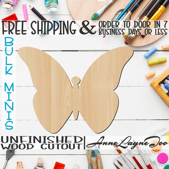 """Butterfly 4, 3"""" to 6"""" Minis, Small Wood Cutout, unfinished, wood cutout, wood craft, laser cut, wood cut out, ornament -235010"""