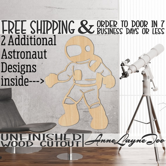 Astronaut Wood Cutout, Spaceman Wall Art, Cosmonaut Door Hanger, wooden space traveler, unfinished wood cut out, laser cut -470012-14