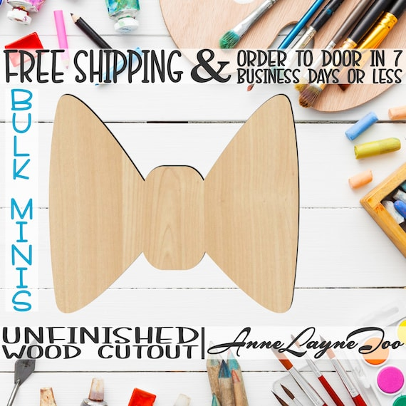 "Bow Tie- 2"" to 6"" Minis, Small Wood Cutout, unfinished, wood cutout, wood craft, laser cut shape, wood cut out, ornament -10002"