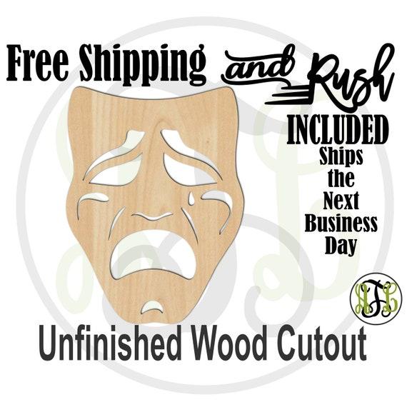 Sad Mask - 130004- Mardi Gras Cutout, unfinished, wood cutout, wood craft, laser cut shape, wood cut out, Door Hanger, RUSH PRODUCTION