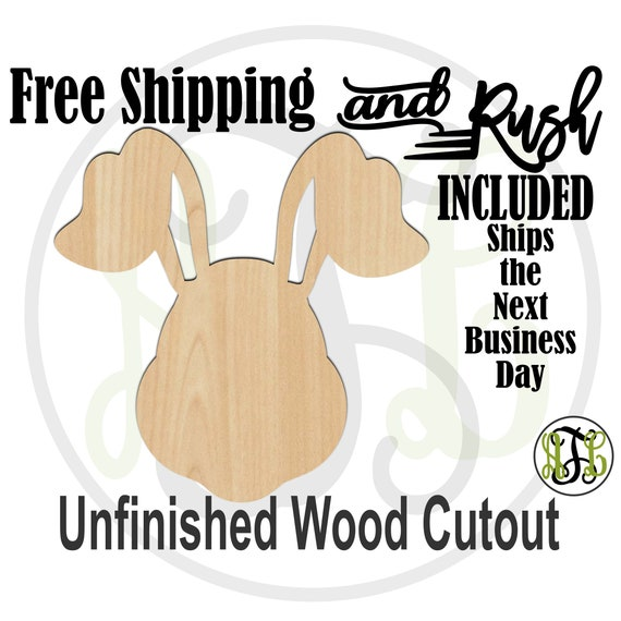 Bunny Head with Floppy Ears - 140009 - Easter Cutout, unfinished, wood cutout, laser cut, Door Hanger, wall art - RUSH PRODUCTION