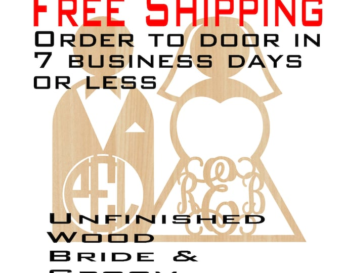 Unfinished Wood Monogrammed Bride and Groom, Door Hanger, Wedding, laser cut shape, Monogrammed Wedding, wooden sign, party