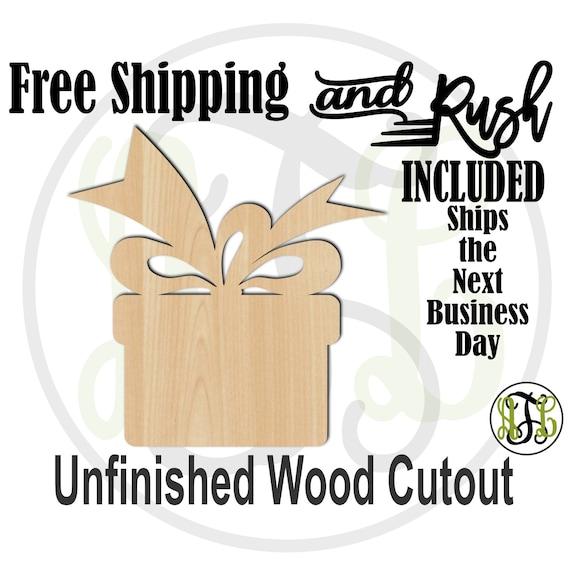 Gift Box -180008- Christmas Cutout, unfinished, wood cutout,  laser cut shape, Door Hanger, wall art - RUSH PRODUCTION