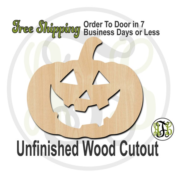 Pumpkin 2- 160024- Halloween Cutout, unfinished, wood cutout, wood craft, laser cut shape, wood cut out, Door Hanger, Jack O Lantern, wooden