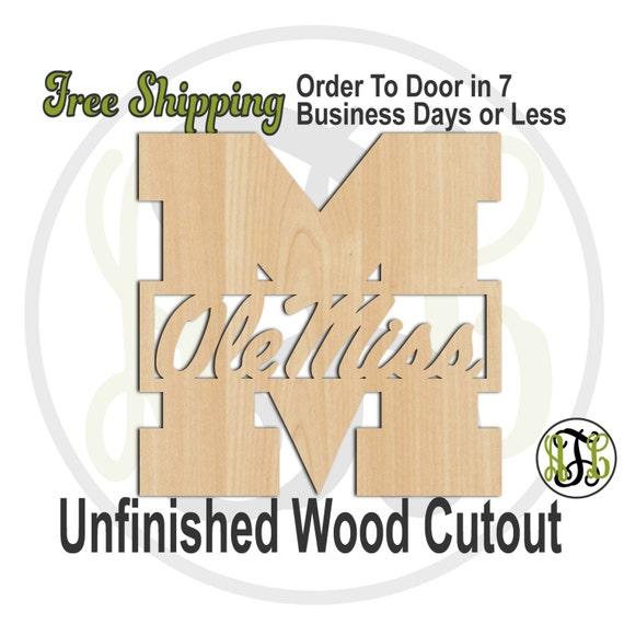 M Miss - 60105-School Spirit Cutout, unfinished, wood cutout, wood craft, laser cut shape, wood cut out, Door Hanger, wooden, wall art