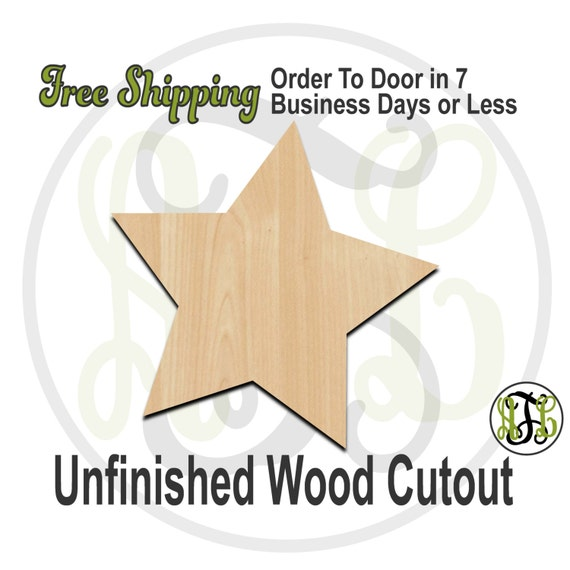 "Five Pointed Star- 1"" to 6"" Minis- 300143- Small Wood Cutout, unfinished, wood cutout, wood craft, laser cut, wood cut out, ornament"