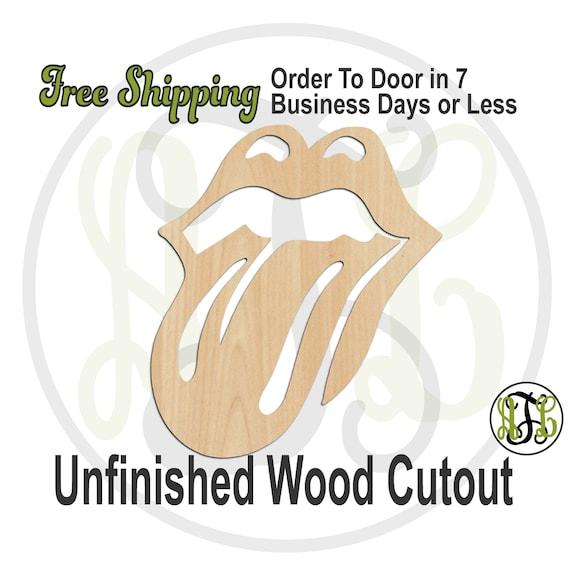 Lips and Tongue- 300190- Fun Cutout, unfinished, wood cutout, wood craft, laser cut shape, wood cut out, Door Hanger, wooden, wall art