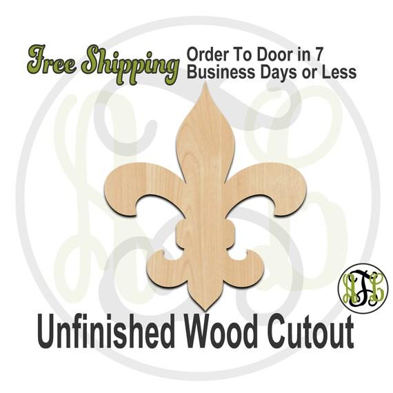 Fleur de Lis 3- 300022- Cutout, unfinished, wood cutout, wood craft, laser cut shape, wood cut out, Door Hanger, wooden, ready to paint