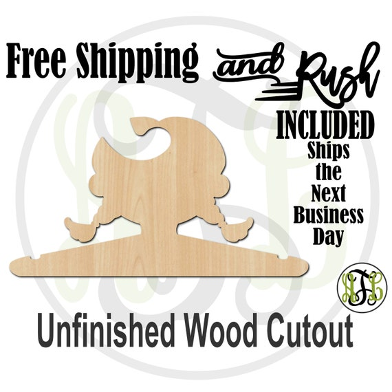 Girl Braided Closet Hanger - Adult or Child Size Cutout, unfinished, wood cutout,  laser cut, Free Shipping - RUSH PRODUCTION