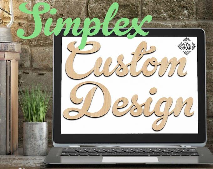 Custom Design Wood Art Simplex, 2 Features, Wedding, Nursery, College, Personalized, Sign, Birthday, laser cut shape, wood cut out