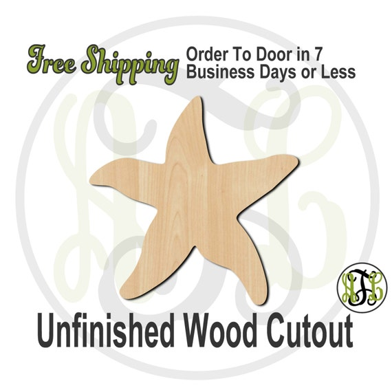 Starfish - 50003- Nautical Cutout, unfinished, wood cutout, wood craft, laser cut shape, wood cut out, Door Hanger, wooden, blank