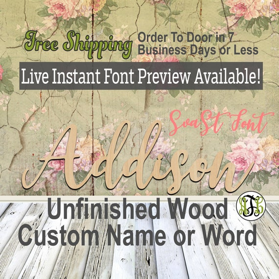 Custom Wood Name Sign, SvaSt Font, Cursive, Connected, wood cut out, wood cutout, wooden, Nursery, Wedding, Birthday, word sign, Script