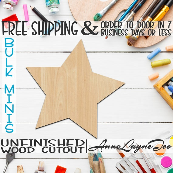 """Five Pointed Star- 1"""" to 6"""" Minis, Small Wood Cutout, unfinished, wood cutout, wood craft, laser cut, wood cut out, ornament -300143"""