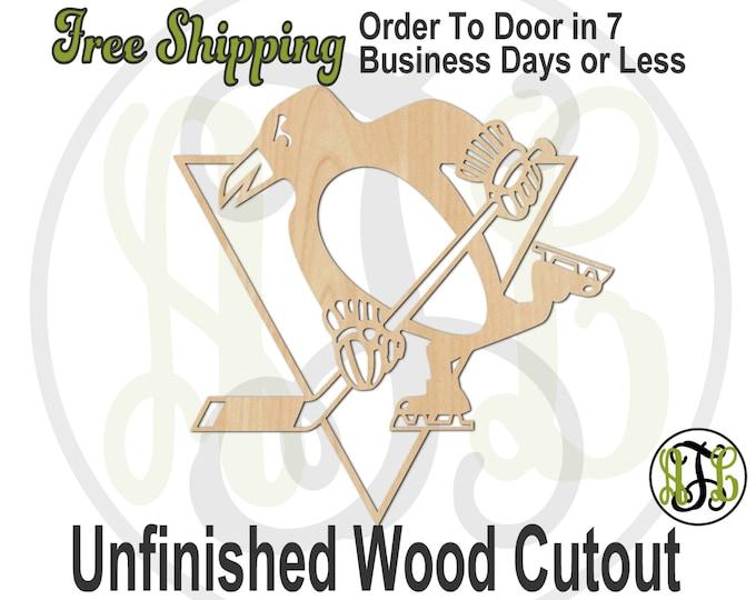Hockey Penguin - 60148-  Hockey Cutout, unfinished, wood cutout, wood craft, laser cut shape, wood cut out, Door Hanger, wooden, wall art