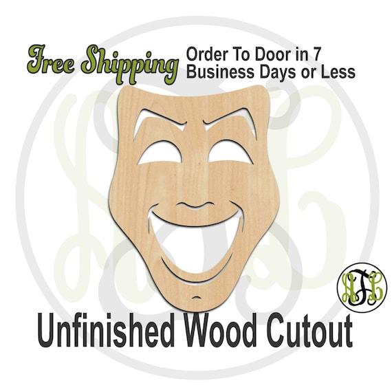 Happy Mask - 130003- Mardi Gras Cutout, unfinished, wood cutout, wood craft, laser cut shape, wood cut out, Door Hanger, wooden, wall art