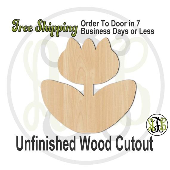 Tulip - 210015- Flower Cutout, unfinished, wood cutout, wood craft, laser cut shape, wood cut out, Door Hanger, wooden, blank