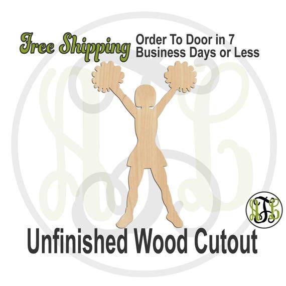 Cheerleader 6 - 60043- Sports Cutout, unfinished, wood cutout, wood craft, laser cut shape, wood cut out, Door Hanger, wooden, wall art