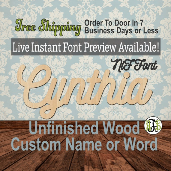 Custom Name Sign, NiF Font, Cursive, Connected, wood cut out, wood cutout, wooden sign, Nursery, Wedding, Birthday, word sign