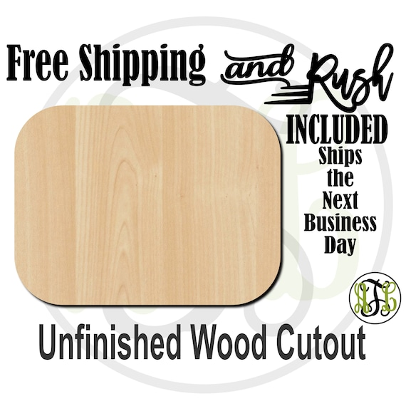 Plaque Rectangle Rounded - 40019- Cutout, unfinished, wood cutout,  laser cut shape, DIY, Free Shipping - RUSH PRODUCTION