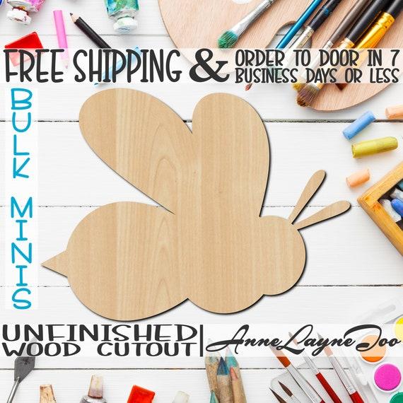 "Bee Mascot, 2"" to 6"" Minis, Small Wood Cutout, unfinished, wood cutout, wood craft, laser cut, wood cut out, ornament -60501"