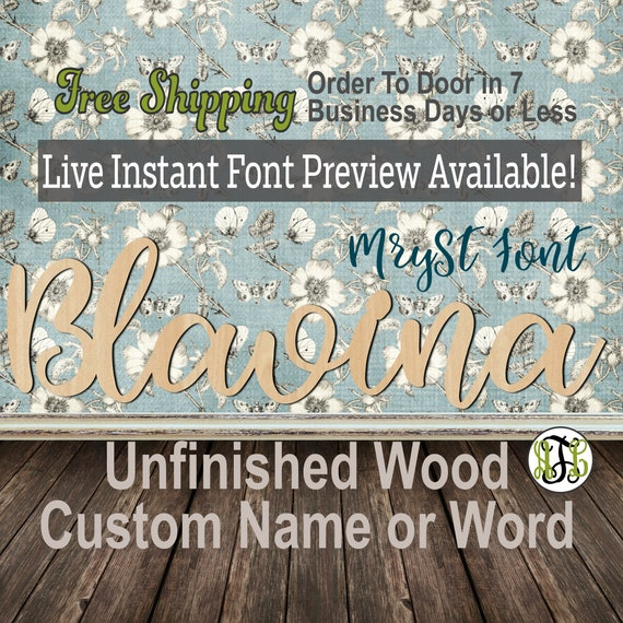 Custom Wood Name Sign, MrySt Font, Cursive, Connected, wood cut out, wood cutout, wooden, Nursery, Wedding, Birthday, word sign, Script