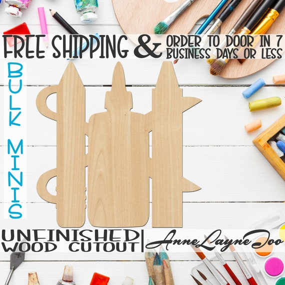 """Scissors Pencil Glue Crayon- 4"""" to 6"""" Minis, Small Wood Cutout, unfinished, wood cutout, wood craft, laser cut shape, wood cut out -70021"""