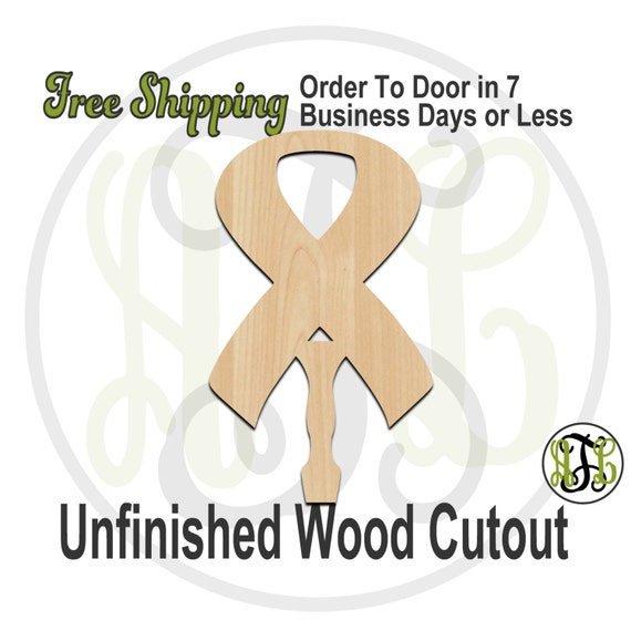 Awareness Ribbon Paddle Sign- 3400021- Cutout, unfinished, wood cutout, wood craft, laser cut shape, wood cut out, DIY, Free Ship