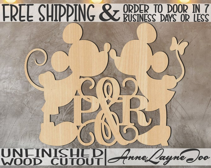 Cartoon Mouse Girl and Boy with Couple's Initials Wood Cutout, Valentine Cutout, Wedding, unfinished, wood cut out, laser cut -990032B&G