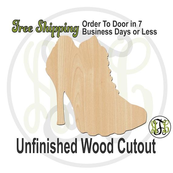 High Heel Running Shoe- 300218- Fun Cutout, unfinished, wood cutout, wood craft, laser cut shape, wood cut out, Door Hanger, wooden