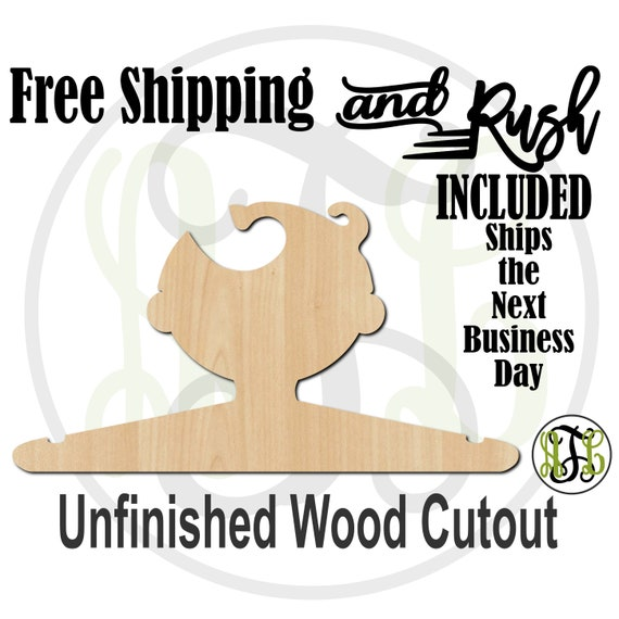 Boy Parted Closet Hanger - Adult or Child Size Cutout, unfinished, wood cutout,  laser cut, Free Shipping - RUSH PRODUCTION
