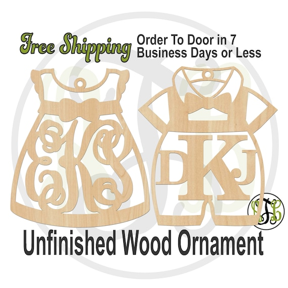 Ornament Dress or Romper Monogram -20016 or 10034M3-BO- Keepsake Cutout, Rustic Unfinished, wood cutout, laser cut, wood cut out, Car Charm