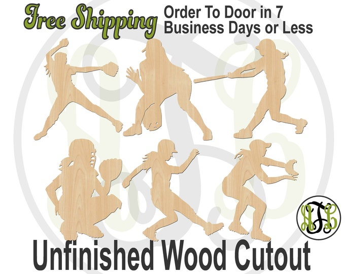 Softball Player- 60220-23-28&29 Sports Cutout, unfinished, wood cutout, wood craft, laser cut shape, wood cut out, Door Hanger, wooden