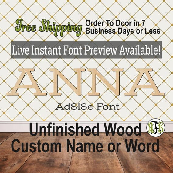AdSlSe Font Name / Word / Phrase- Block Alphabet Cutout, unfinished, wood cutout, laser cut wood, wood cut out, wooden,  Live Font Preview