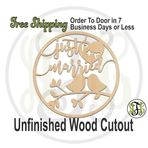 Just Married Love Birds, 325025, Wedding, laser cut wood cutout, Door Hanger, Reception Sign, wooden sign, wall art