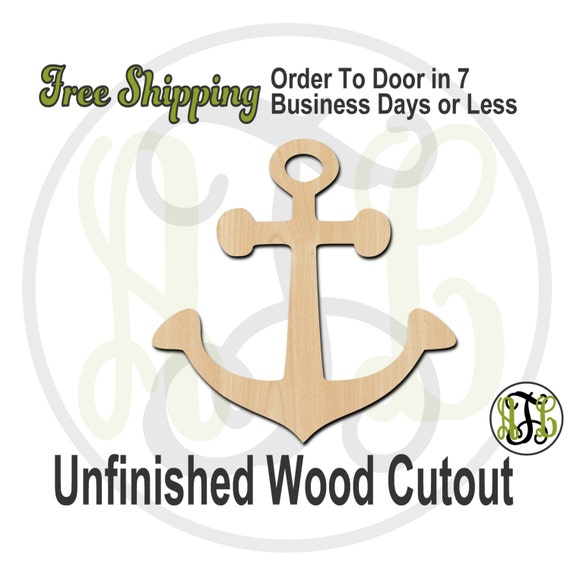 Anchor 2 - 50010- Cutout, unfinished, wood cutout, wood craft, laser cut shape, wood cut out, Door Hanger, wooden, ready to paint