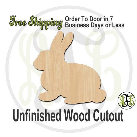 Bunny - 230027- Easter Cutout, unfinished, wood cutout, wood craft, laser cut shape, wood cut out, Door Hanger, wooden, blank