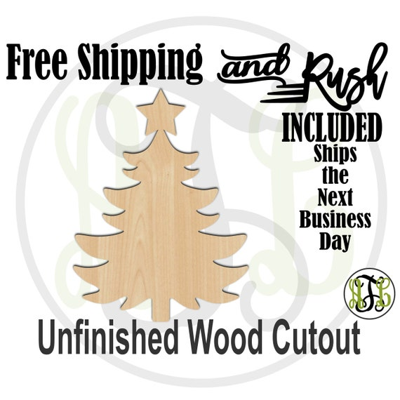 Christmas Tree 2 - 180036- Holiday Cutout, unfinished, wood cutout,  laser cut shape, Door Hanger - RUSH PRODUCTION