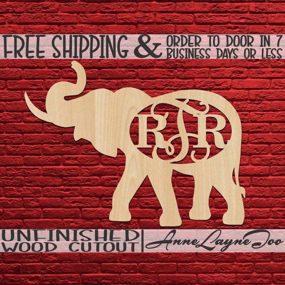 Elephant with Tusk Monogram Wood Cutout, Elephant Door Hanger, Animal Cutout, Alabama, unfinished, wood cut out, laser cut -230112M3