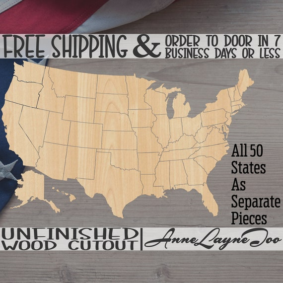 United States Puzzle, America Cutout, United States, wooden, USA, unfinished, wood cut out, laser cut -270052