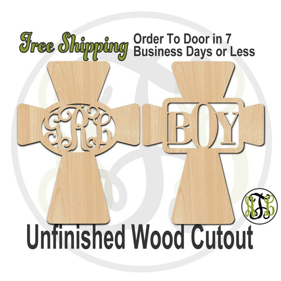 Cross w/ Framed 3-Letter Monogram- 290029M3BGB- Personalized Cutout, Initial, unfinished, wood cutout, laser cut, wood cut out, wooden sign
