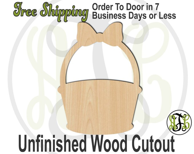 Easter Basket - No. 14003- Cutout, unfinished, wood cutout, wood craft, laser cut shape, wood cut out, Door Hanger, Holiday, wooden