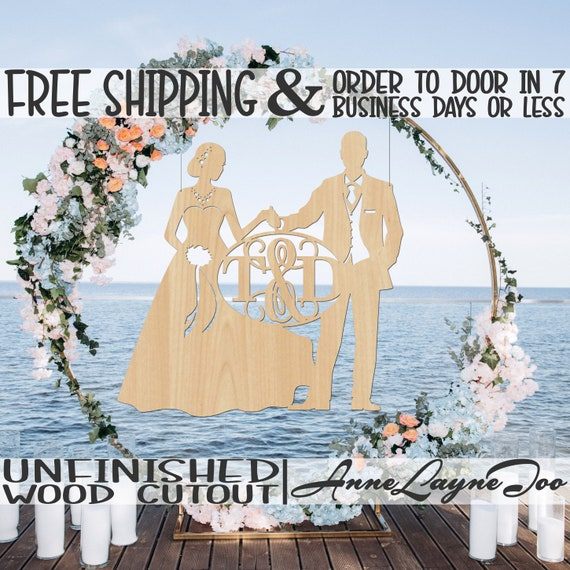 Bride and Groom 3 Monogram - 260303GI&BI- Wedding Cutout, unfinished, wood cutout, wooden, laser cut, wood cut out, Door Hanger, wooden sign