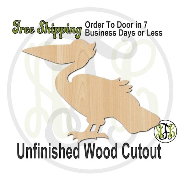 Pelican - No. 230047- Bird Cutout, unfinished, wood cutout, wood craft, laser cut shape, wood cut out, Door Hanger, Louisiana, wooden, blank