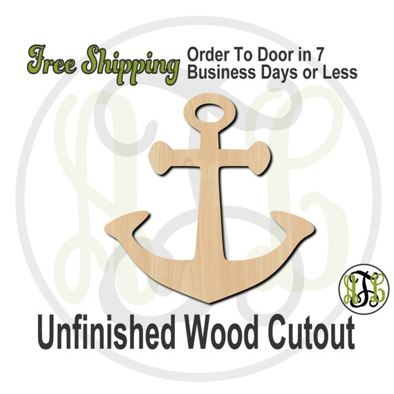 Anchor 3 - 50011- Cutout, unfinished, wood cutout, wood craft, laser cut shape, wood cut out, Door Hanger, wooden, ready to paint