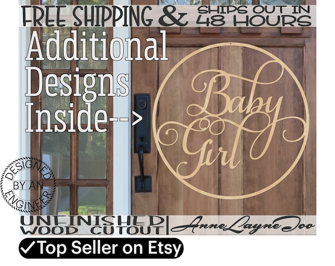 Baby Girl Baby Boy Wooden Sign, Baby Shower Cut Out, Gender Reveal Sign, Door Hanger, It's a Girl or Boy, unfinished, laser cut -325184-87