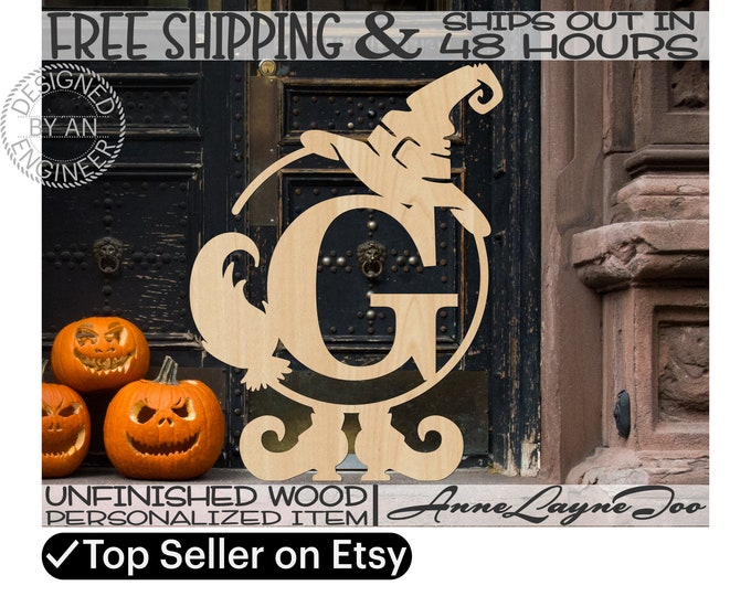 Witch Frame Initial Wood Sign, Witch Door Hanger, Halloween Wood Sign, unfinished, wood cut out, laser cut, Ships in 48 HOURS -990082M1